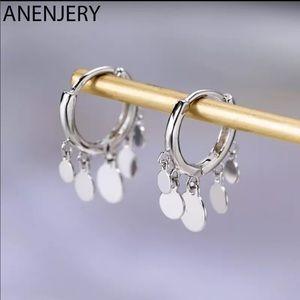 Round Disc Tassel Earrings Sterling Silver Trendy